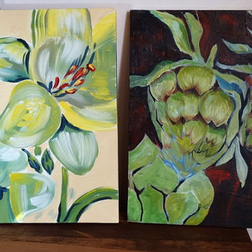 Pair of Original Paintings Artichokes and Flowers Complimentary Paintings Botanicals 16x20