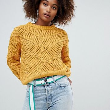 Pull&Bear Pom Pom Detail Sweater at asos.com