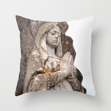Religious Home Decor, Catholic Statue, Saint Mary Pillow Cover