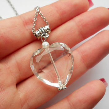 Crystal heart necklace, faceted heart pendant, crystal heart jewelry,clear  transparent heart, surgical steel chain necklace, valentine gift