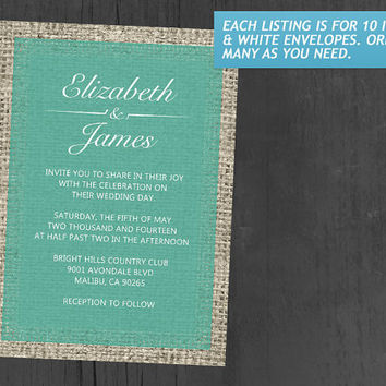 Turquoise Vintage Burlap Wedding Invitations | Invites | Invitation Cards