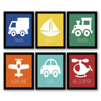 Transportation Art, Set of 6, Transportation Decor, Boys Room Art, Kids Room, Nursery Art, Kids Wall Art, Playroom Decor, INSTANT DOWNLOAD