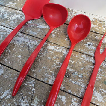 Red Kitchen Utensils Melamine Spoon Copco Spatula Rosti Foley Kitchen Spoons