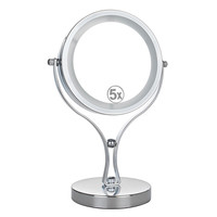 6 inch Metal Desktop Double-sided Makeup Mirror LED Light Mirror 5X Magnifying LED Lamp Cosmetic Mirror