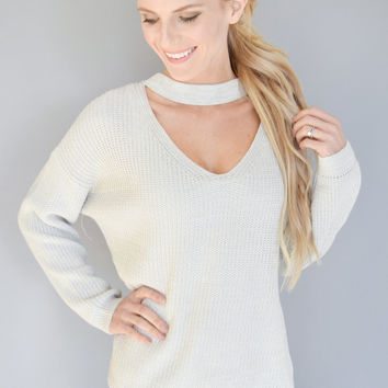 Harvest Moon Silver Cutout Sweater