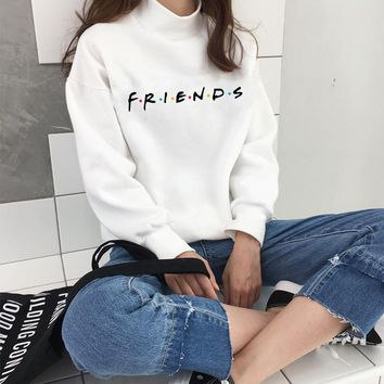 Winter Clothes Friends Tv Show Womens Hoodies Casual Sweatshirt Tee Lovely Girl Top Pullover Letter Print Turtleneck