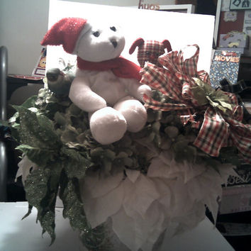HOLLY JOLLY CHRISTMAS Basket Overflowing With Lush Velvey White Poisettas Christmas Floral Basket With Red Teddy, Red Dog , Candy Cane, Bow