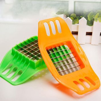 Stainless Steel Vegetable Potato Slicer Cutter Chopper Chips Making Tool Potato Cutting Fries Tool Kitchen Accessories E#CH