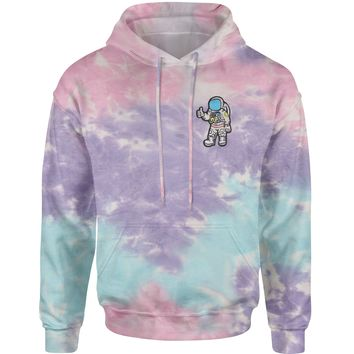 Embroidered Astronaut in a Space Suit Patch (Pocket Print) Tie-Dye Adult Hoodie Sweatshirt