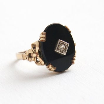 Vintage 10k Yellow Gold Filled Simulated Black Onyx Stone, Rhinestone Ring - Size 6 1/2 Art Deco C&C Clark Coombs Bow Filigree Jewelry