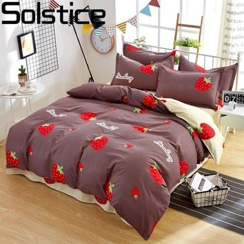 Solstice Home Textile Twin King 3/4Pcs Bedding Set Girl Kid Linens Strawberry Brown Duvet Cover Pillowcase Bed Sheets Bedclothes