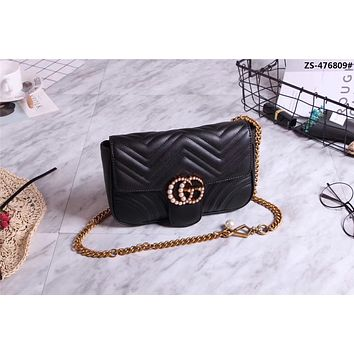 GUCCI GG MARMONT LEATHER PEARL CHAIN SHOULDER BAG