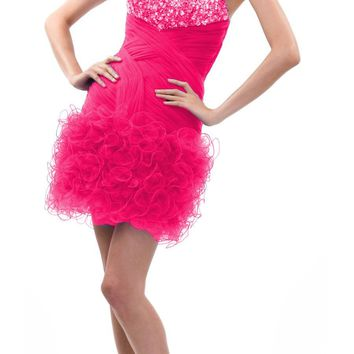 CLEARANCE - LIMITED STOCK - Short Ruffle Tulle Homecoming Dress Fuchsia Jeweled Top Strapless