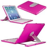 CoverBot iPad Air Keyboard Case Station PINK Bluetooth Keyboard For iPad Air 5th Gen with IOS Commands. Folio Style Cover with 360 Degree Rotating Viewing Stand Feature