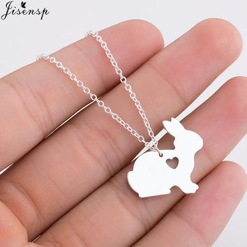 Jisensp Contracted Origami Animal Necklace Lovely Rose Gold Pet Bunny Rabbit Necklaces Pendants Fashion Jewelry for Women Gifts
