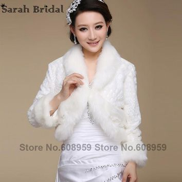 New Bridal Jacket Coat Faux Fur White Wraps Bolero Shrug Wedding Shawls And Wraps Wedding Accessories Elegant In Stock 17019