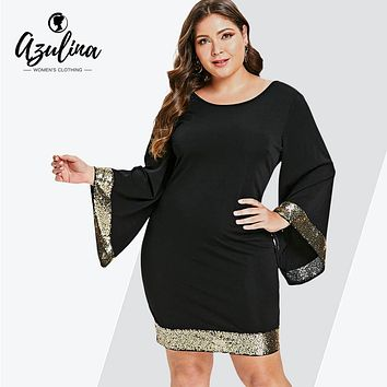 AZULINA Plus Size Sequins Flare Sleeve Dress Women V Neck Long Sleeve Bodycon Dress Female Office Party Work Dresses Vestido 5XL