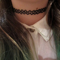 Vintage 90's Tattoo Choker Stretch Necklace, Bracelet, and Ring Set