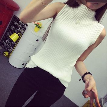 PEAPGB2 2016 autumn turtleneck tanks women sleeveless top crop female stand collar elastic force vest female pull femme sexy top