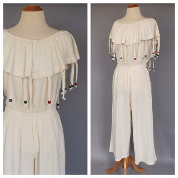 Vintage 1980s Jumpsuit 80s White Gauzy Cotton Romper Summer Tribal Beaded Fringed Pantsuit Jumper Beach Playsuit 1970s Boho Gypsy Romper