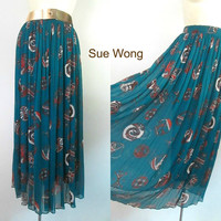 Long Pleated Chiffon Skirt Tribal Design Sue Wong Designer Vintage Boho Chic