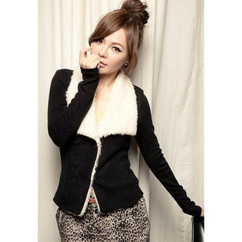 Black Turn-down Collar Long Sleeved Jacket