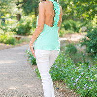 A Ruffle In Time Tank, Mint