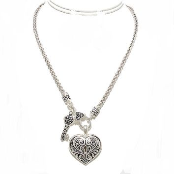 Designer Silver Wheat Chain Heart Pendant Locket Key Charm Necklace Elegant Classic Jewelry