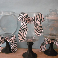 3 upcycled Black white Zebra Candy buffet jars by MamaLisasCottage