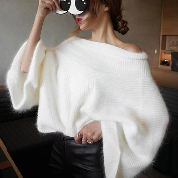 Oversized Batwing Sleeve Pullover Sweater