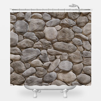 3D Stone Pattern Shower Curtain