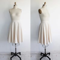 Vintage 70s Raw Silk Natural Ivory White Circle Skirt | medium 6 28