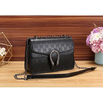 Gucci Fashionable Women Shopping Bag Leather Metal Chain Shoulder Bag Crossbody Satchel Black