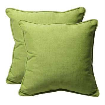 2 Green Textured Throw Pillows - Green