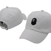 White BAPE Embroidered Adjustable Cotton Baseball Cap Hat