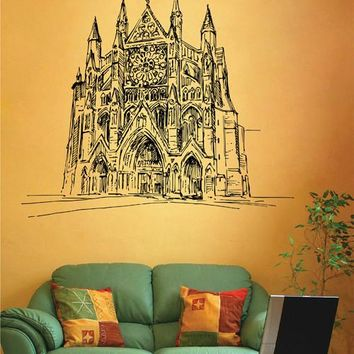 ik2680 Wall Decal Sticker beautiful cathedral Gothic church hall bedroom
