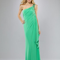 Green Gathered Embellished One Shoulder Prom Dress - Unique Vintage - Cocktail, Pinup, Holiday & Prom Dresses.