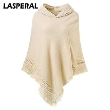 LASPERAL Autumn Winter Poncho Sweater Women 2017 Fashion Tassel Casual Knitted Christmas Sweater Hooded Irregular Women Shawls