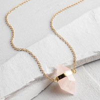 Rose Quartz Gold Pendant Necklace
