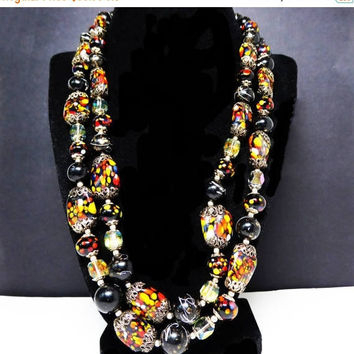 Double Strand Black Beaded Necklace - Art Glass Beads w Red, Yellow, Orange, White Dots - Oval & Round Bead Shape  Vintage 1950s 1960s 1970s