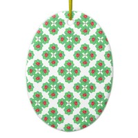 Floral Collage Pattern Ceramic Ornament