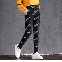 """Balenciaga"" Women Fashion Letter Print Bodycon Small Foot Pants Trousers Jeans"