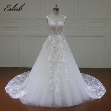Eslieb Illusion Lace Appliques wedding dress 2018 A-Line Court Train white Elegant and Top Fashion Tulle Wedding Dresses