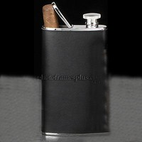 4 oz. Leather Flask with Cigar Holder
