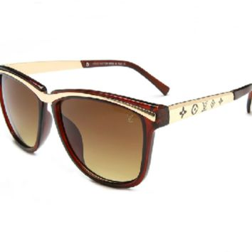 Chic LV  Summer Sun Shades Eyeglasses Glasses Sunglasses- Brown