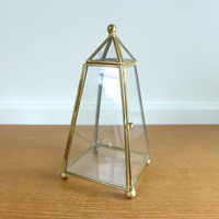 Obelisk shaped glass and brass box, tall display box, terrarium
