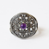 Northern sun ring, Amethyst stone, Purple stone, Silver ring, Celtic ring, Nordic ring, Nordic jewelry, Celtic knot ring, Engagement ring