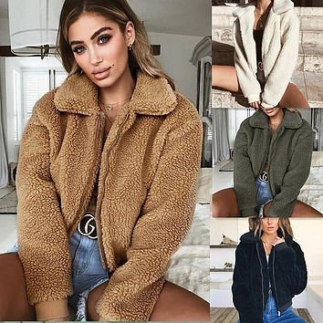 Lapel Collar Zipper Warm Women Winter Short Teddy Coat