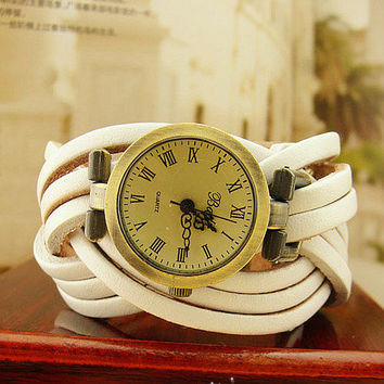 Twist of pure hand-woven Bronze Leather watch by unusual