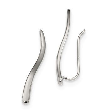 2.7 x 26mm Rhodium-Plated Sterling Silver Curved Ear Climber Earrings